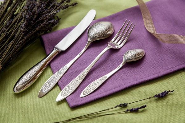 "Silberbesteck Set 4-teilig in 925 Sterlingsilber ""PROVENCE Black"""