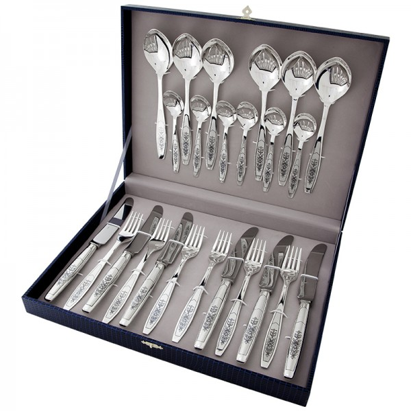 Silberbesteck Set 24-teilig in 925 Sterlingsilber Kollektion - Astra Black