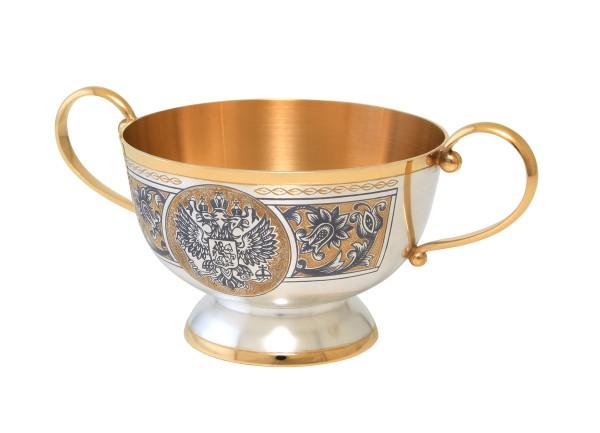 Zuckerschale & Zuckerdose 200 ml aus 925 Sterling Silber vergoldet mit Niello Design