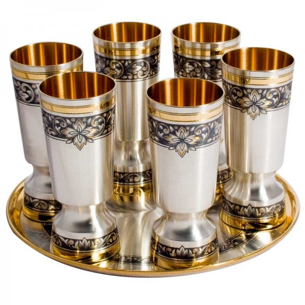 Schnapsbecher Set 7-teilig 30 ml aus 925 Silber vergoldet