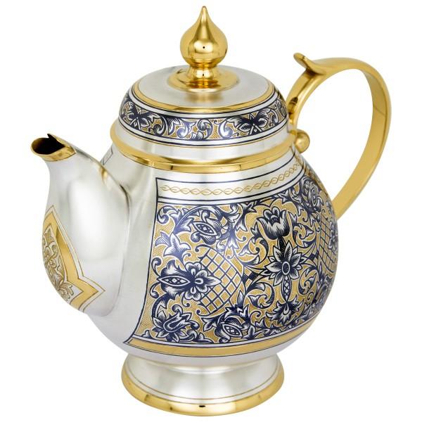 Teekanne 500 ml aus 925 Sterlingsilber vergoldet mit Niello