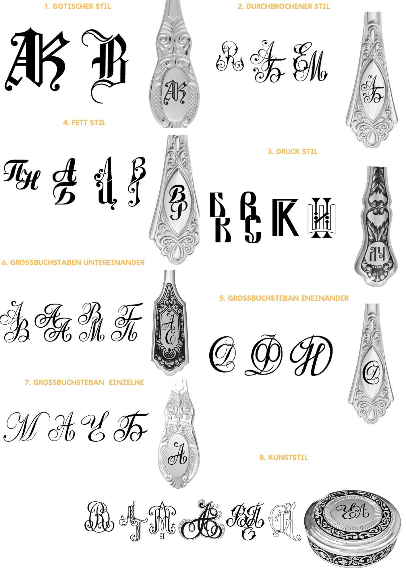 Tafelsilber-Gravur-Monogramme-Stil-Arten