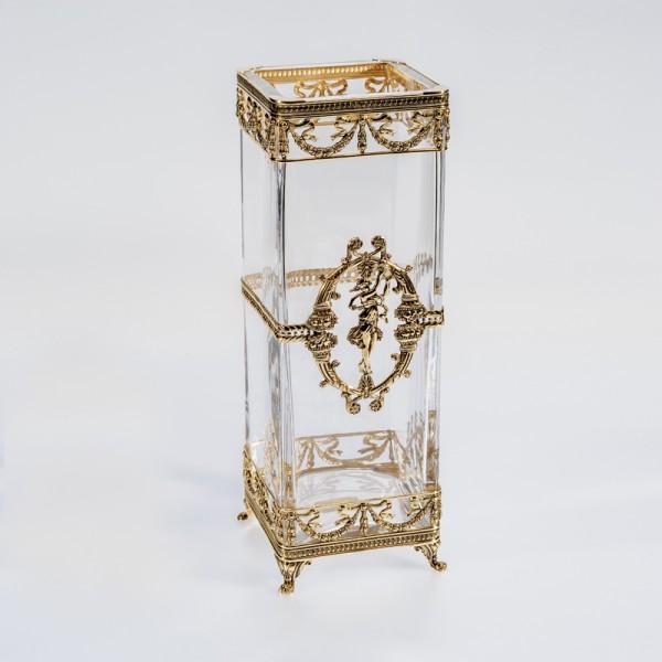 Quadratische Vase Kristallglas vergoldet 30 cm
