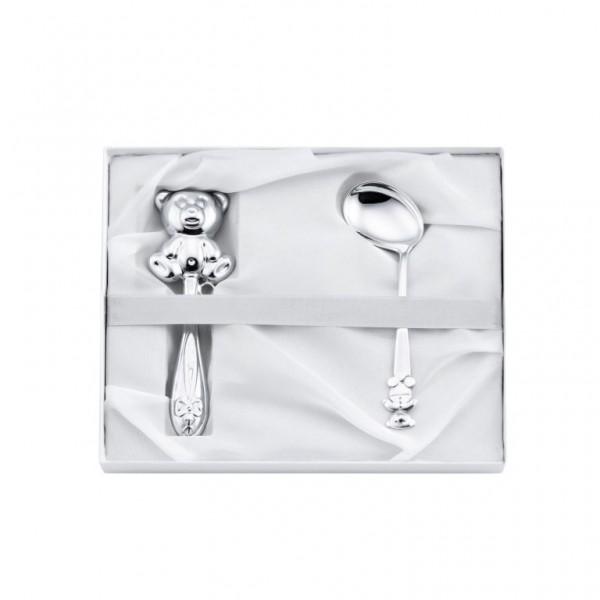 Geschenkset Löffel & Babyrassel Teddybär Geschenkverpackung