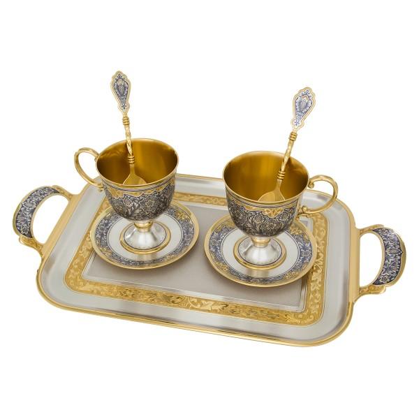 Teeservice mit Tablett aus Sterlingsilber vergoldet ZAREN FEST