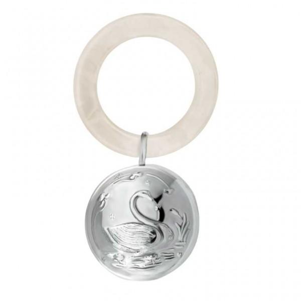 Babyrassel & Beißring Schwan 925 Silber