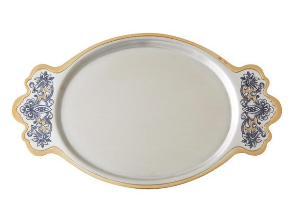 Silbertablett oval in 925 Sterlingsilber & Vergoldung 0,5 Mikron L157 х B95 mm