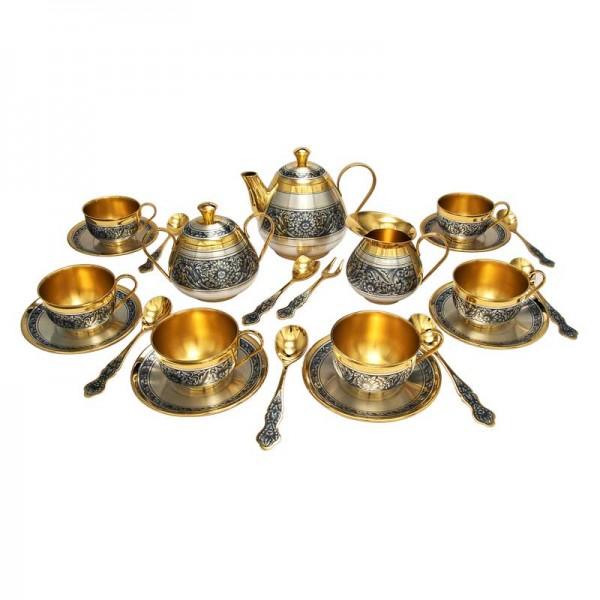 Tee-Service aus Silber vergoldet 2109,5 g 9 teilig