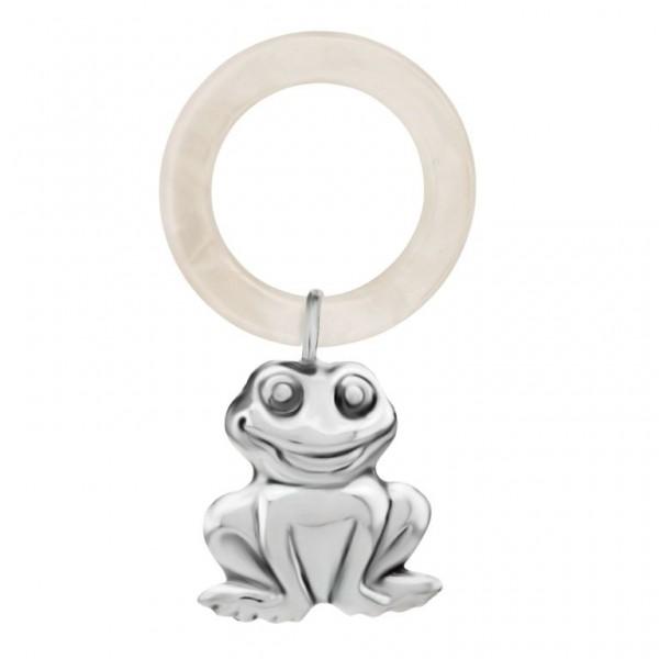 Babyrassel & Beißring 925 Silber kleiner Frosch