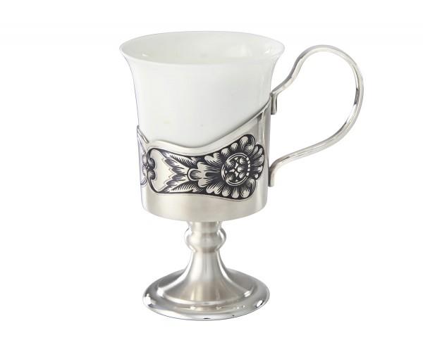 """Kaffeetasse aus Porzellan im Halter aus Echtsilber 50 ml """"Niello Design"""""""