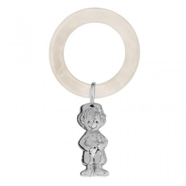 Babyrassel & Beißring 925 Silber New Boy