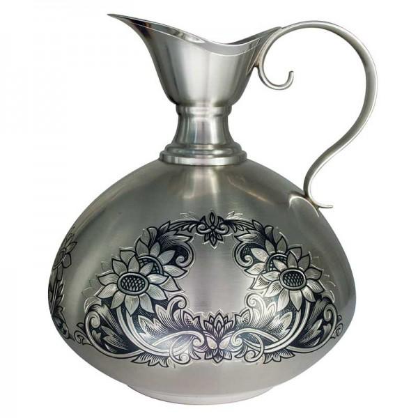 Silber Krug & Silber Karaffe 480 ml Sonnenblume Handgravur Niello Zeichnung