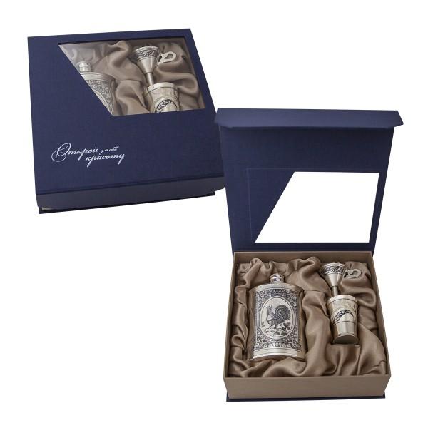 Flachmann Geschenkset mit Schnapsbecher aus Sterling Silber