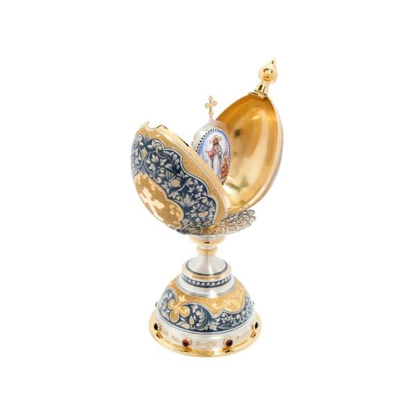 """Osterei """"Wiedererstehung"""" aus Sterling Silber vergoldet Dekoration Ei"""