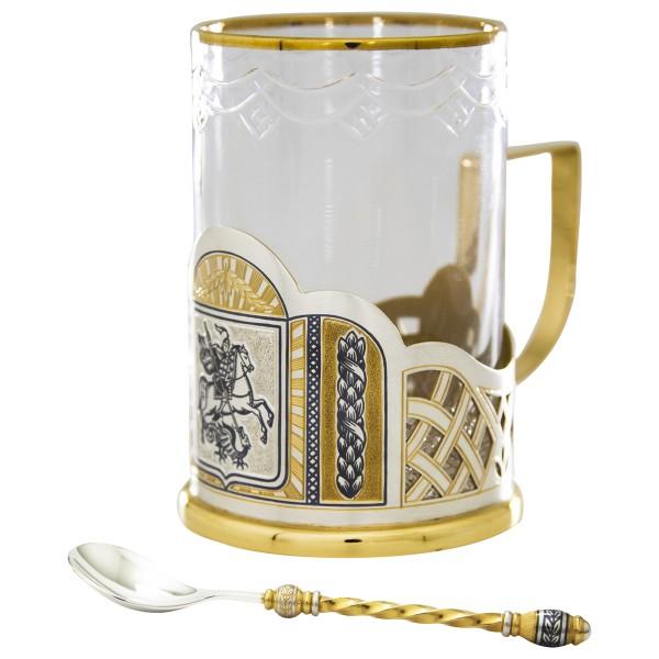 Teetasse mit Löffel aus Glas & Sterlingsilber vergoldet Design Sieger