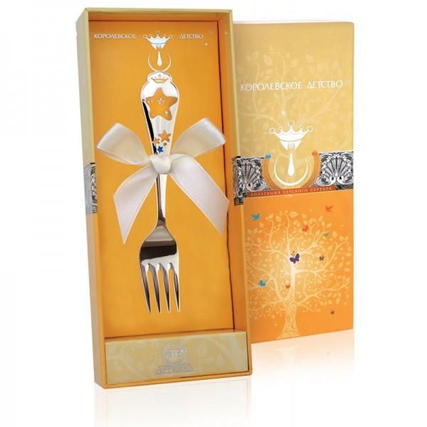 Kindergabel Sterne in 925 Sterling Silber emailliert mit Geschenkverpackung