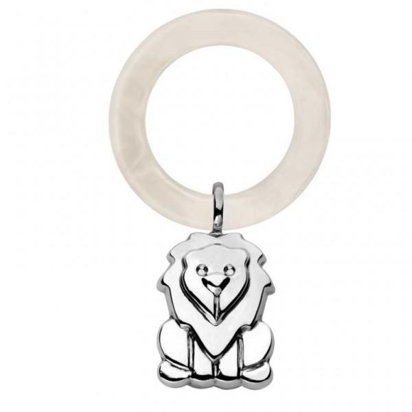 925 Silber Babyrassel am Beißring Löwe