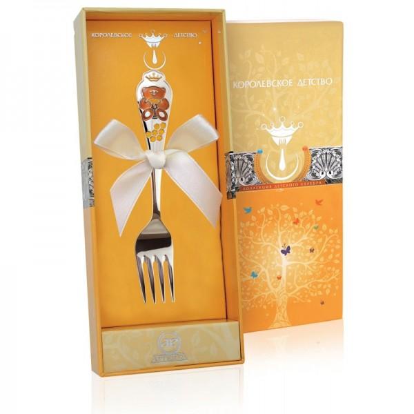 Kindergabel Bär in 925 Sterling Silber emailliert braun mit Geschenkverpackung
