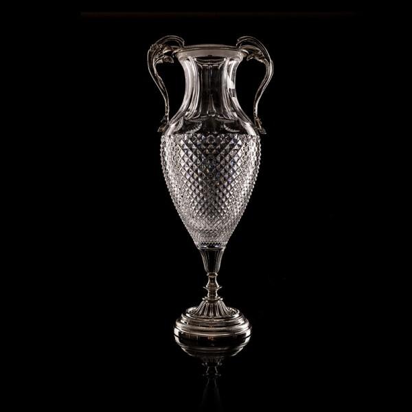 Sofia Vase Kristallglas versilbert 49x22 cm
