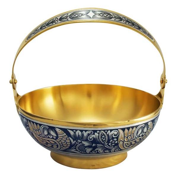 Schale aus 925 Sterling Silber vergoldet mit Niello Zeichnung 160 ml