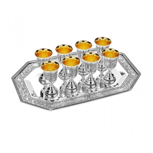 Schnapsgläser Set mit Silbertablett 9-teilig 925 Silber Mohn