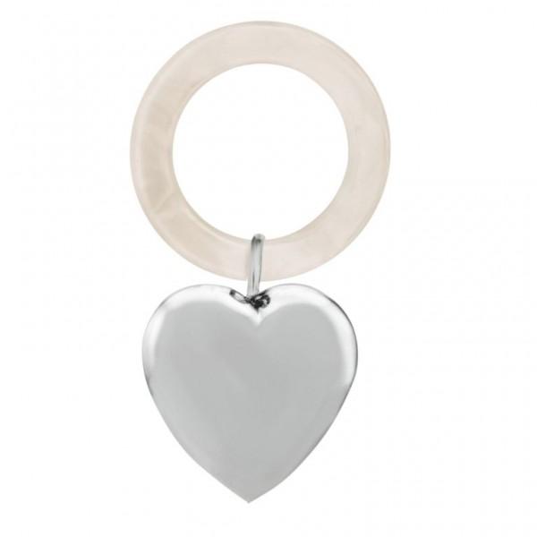 Babyrassel & Beißring 925 Silber Herz glatt