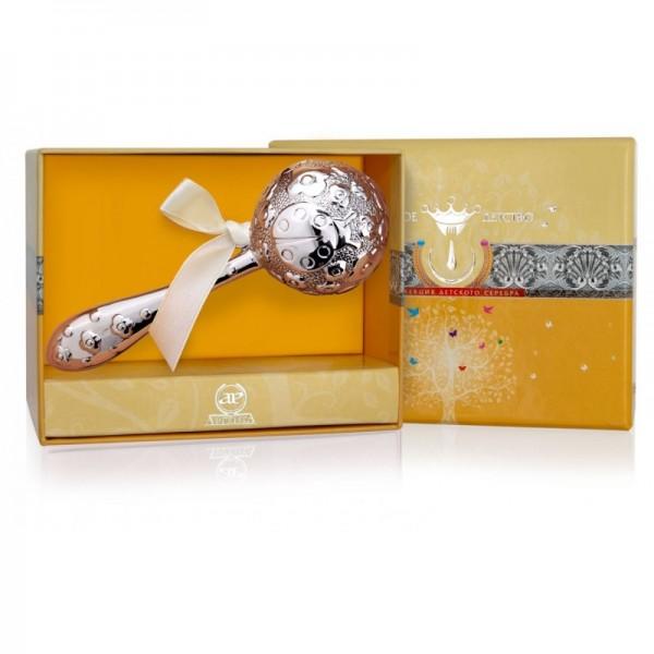 Stielförmige Baby Rassel in Sterlingsilber mit einem Marienkäfer-Motive in Geschenkverpackung