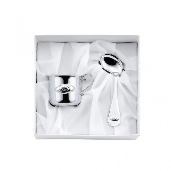 Geschenkset Becher & Babylöffel 925 Silber Bär Geschenkverpackung