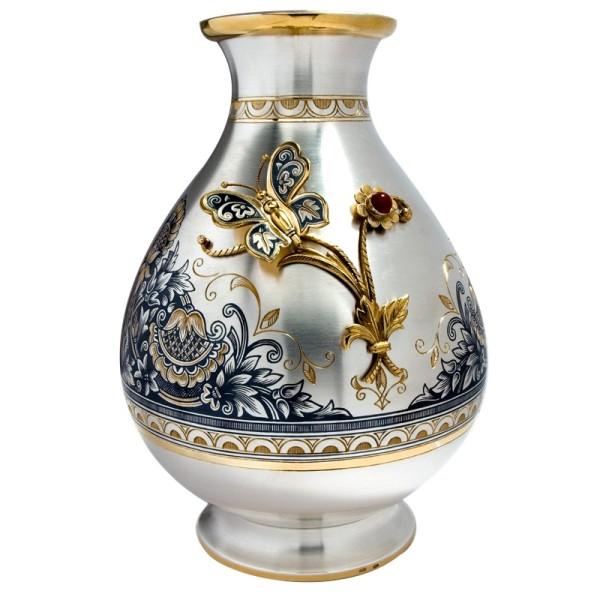 Blumenvase Sterling-Silber 925 vergoldet 600 ml