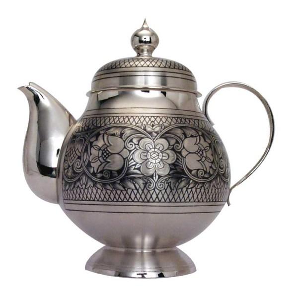 Teekanne 550 ml aus 925 Sterlingsilber mit Niello