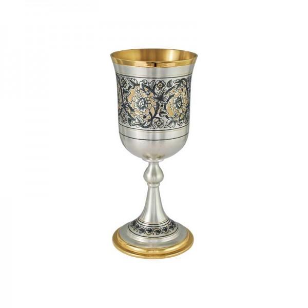Pokal 230 ml aus 925 Silber vergoldet mit Niello Zeichnung