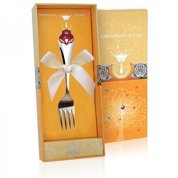 Kindergabel Prinzessin in 925 Sterling Silber emailliert rot mit Geschenkverpackung