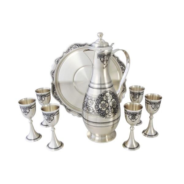 Likör-Service aus 925 Silber mit Niello Zeichnung 8 Teile
