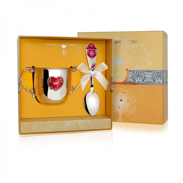 Geschenkset für Babys 2-teilig 925 Silber Herz in Geschenkverpackung