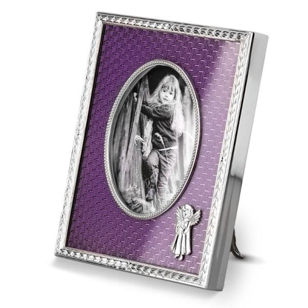 Kinder Bilderrahmen aus Messing mit Guilloche-Emaille violett