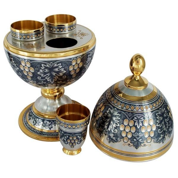 Silberdose eiförmig mit 3 Schnapsbecher aus 925 Silber vergoldet