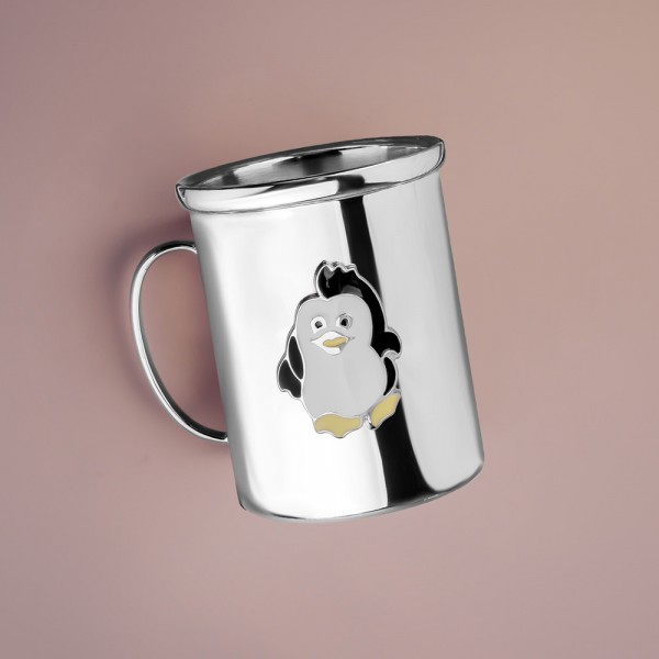 Kinderbecher Pinguin aus Sterling Silber