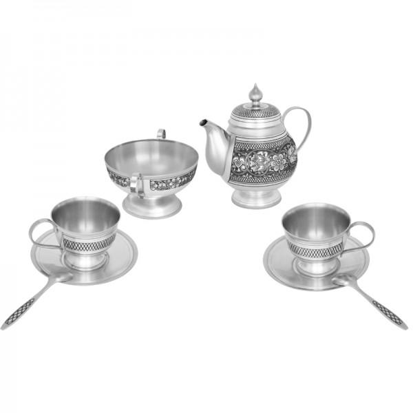 Teeservice für 2 Personen aus 925 Silber mit Niello Handarbeit
